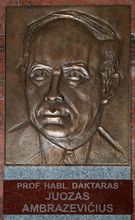 Bas-relief of Ambrazevicius Brazaitis, Nazi collaborator, at Vytautas Magnus University in Kaunas