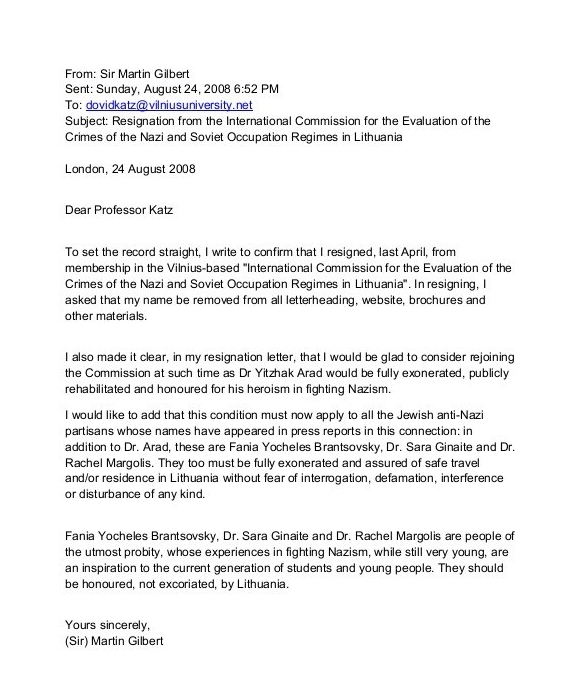 Sir Martin Gilbert Releases August 2008 Letter On His