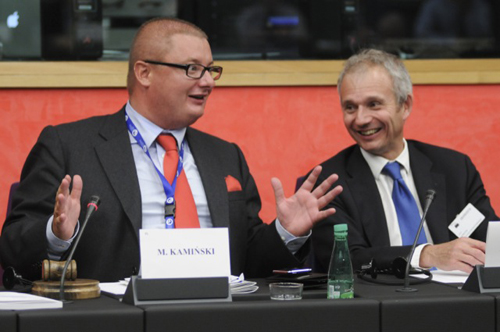 David Lidington (r) with Michal Kaminski in the European Parliament
