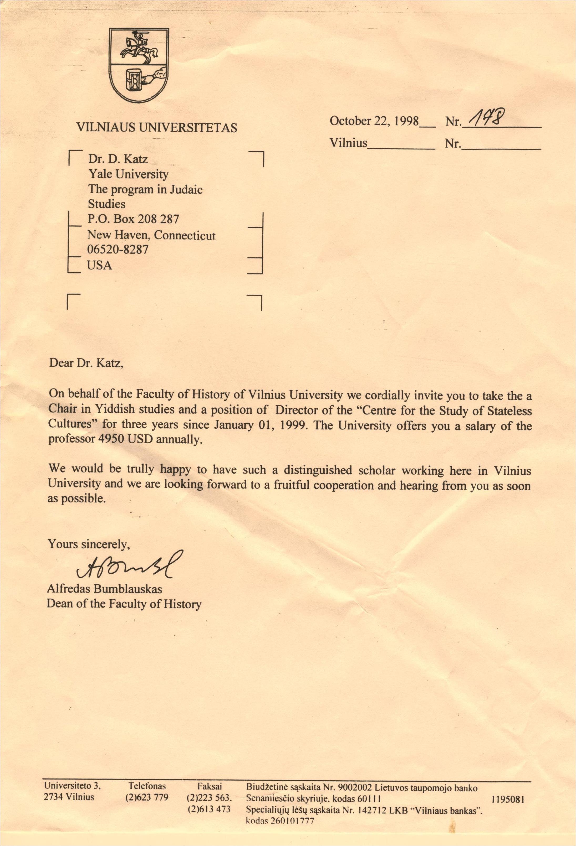 Bumblauskas to Katz 1998