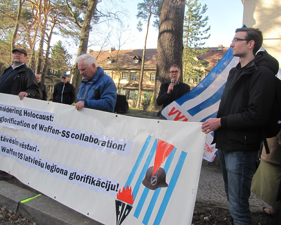Dr Hans Coppi speaking VVN protesting outside the Latvian embassy Berlin 15.03.2017