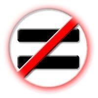Equals sign slashed through