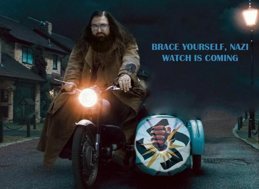 photoshopped neo-Nazi image of Dovid Katz on a motorcycle (Jan 2013)