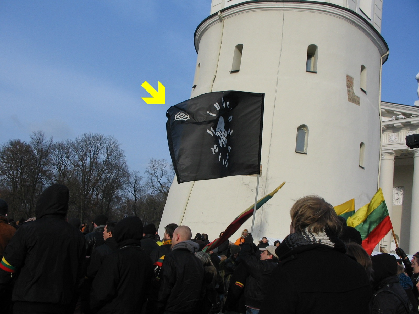swastika flag at independence day march in Vilnius on March 2013