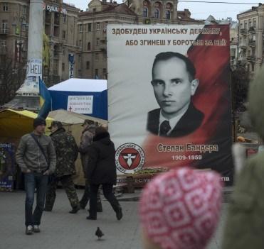 Bandera in Independence Square in Kiev