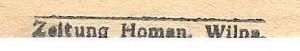 printer's name in Wilna