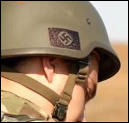 Swastika helmet in Ukraine