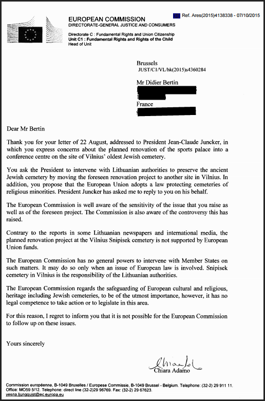 Bertin reply from Juncker's assistant