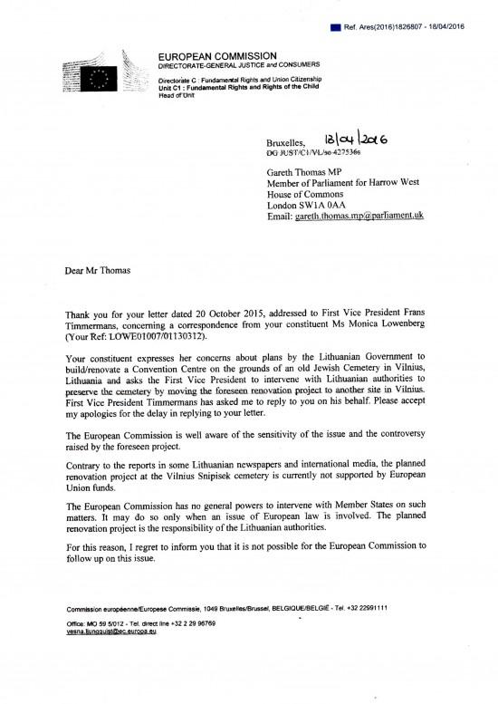 European Commission to Gareth Thomas 13 April 2016 1 of 2