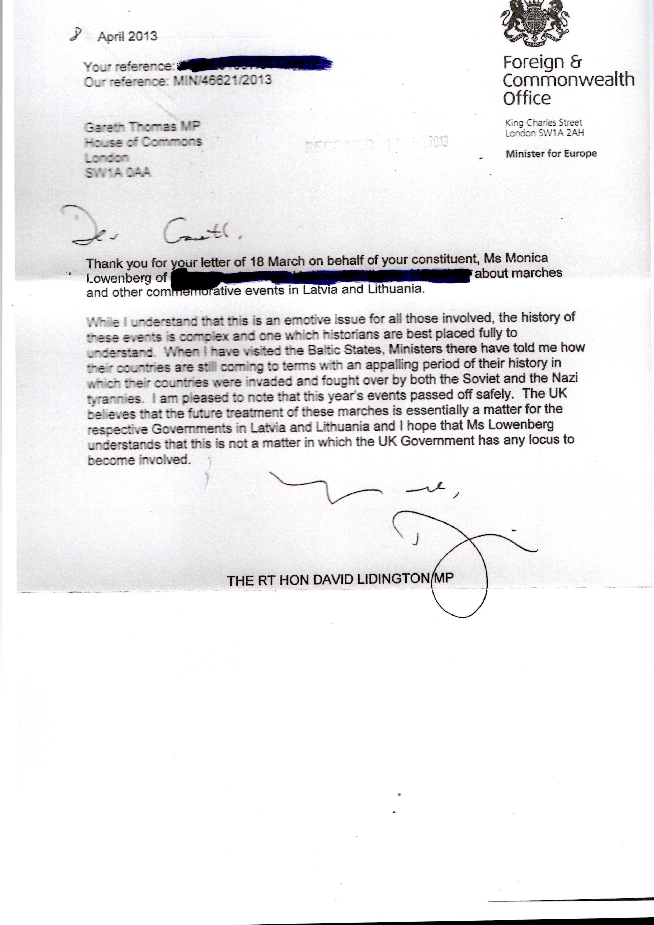 Lidington to Thomas 8 April 2013 letter